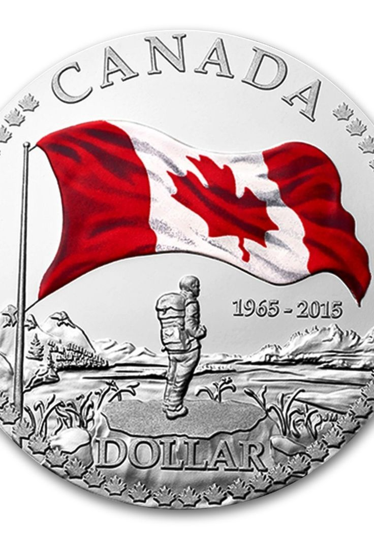 2015 Fine Silver Proof Dollar With Colour 50th Anniversary OF THE Canadian Flag