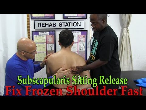 Fix Frozen Painful Shoulder Fast (Subscapularis Sitting Stretch Release) - Dr Mandell - YouTube