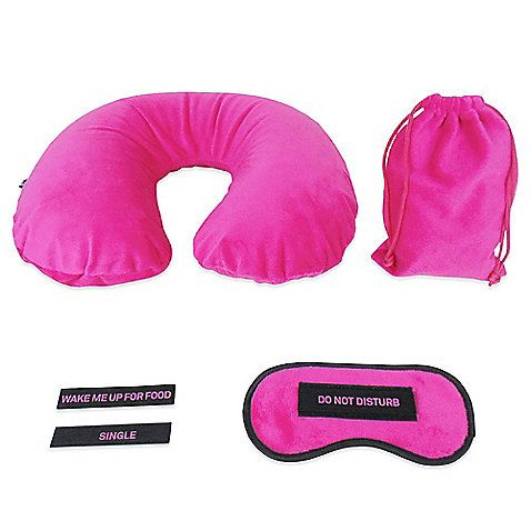 Sleep comfortably and feel refreshed when traveling with this Sleep Set. Features a plush, inflatable neck pillow and eye mask with changeable Velcro® sayings.