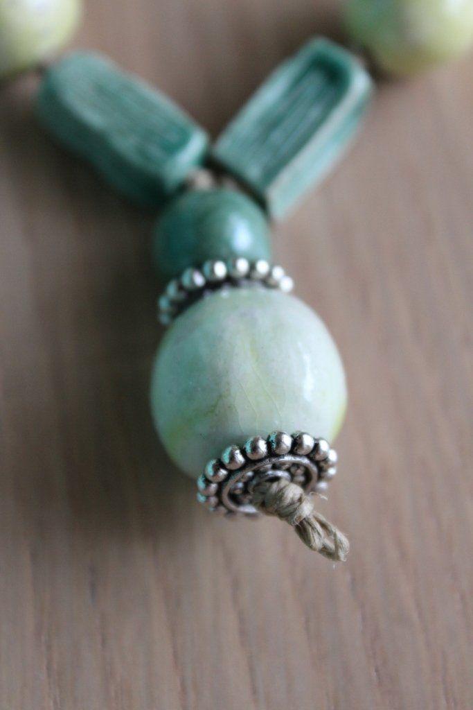 collana in ceramica verde chiaro/scuro, by i gioielli di ale, 18,00€ su misshobby.com