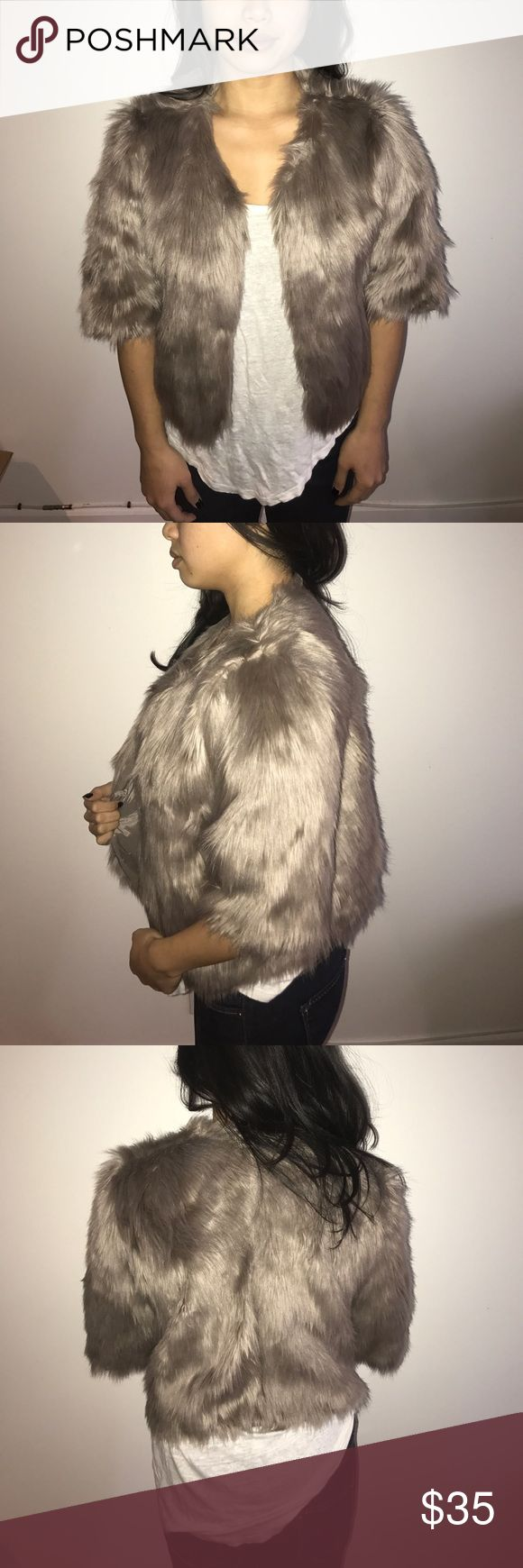 BCBG faux fur crop jacket BCBGeneratiom faux fur cropped jacket with closure in taupe BCBGeneration Jackets & Coats
