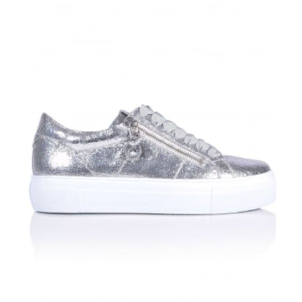 Silver Big Metallic Crush Trainers (£229) ❤ liked on Polyvore featuring shoes, sneakers, silver metallic shoes, metallic silver sneakers, silver special occasion shoes, platform sneakers and silver platform shoes