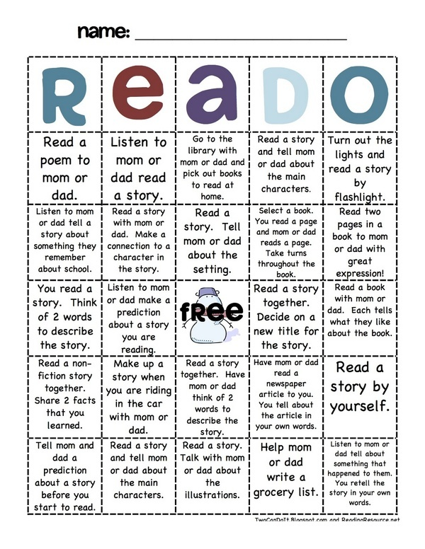 Interesting idea! This could be given to students each month. Encourages parent participation in the students' education, as well as students taking ownership of their learning and working on reading outside of the classroom. Have the parents initial each space when it is completed, and have a treat for each student who gets a BINGO each month! www.teachthis.com.au