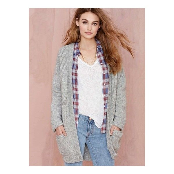 Casual Knit Long Sleeve Cardigan ($35) ❤ liked on Polyvore featuring tops, cardigans, grey, long sleeve knit cardigan, gray top, long sleeve tops, grey long sleeve top and long sleeve knit tops