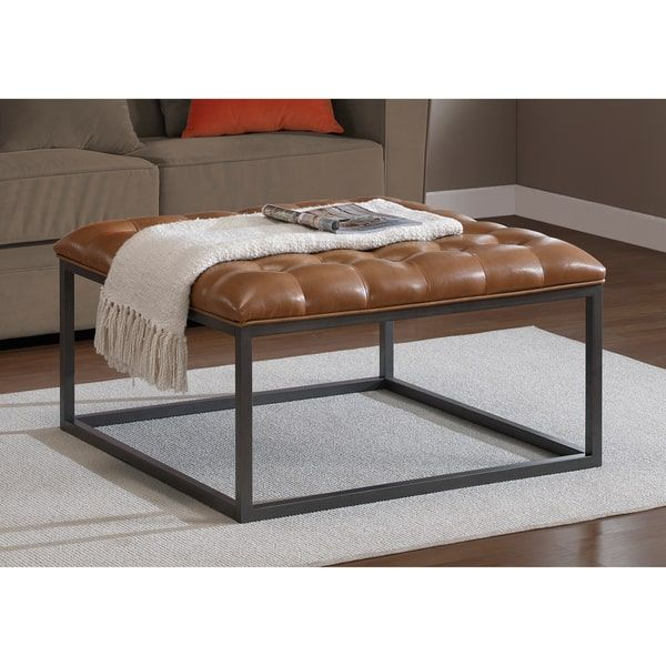healy saddle brown leather tufted ottoman overstock com shopping the best deals on