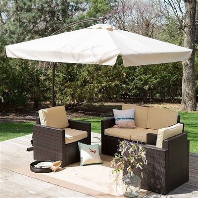8ft square offset patio umbrella gazebo with beige canopy shade