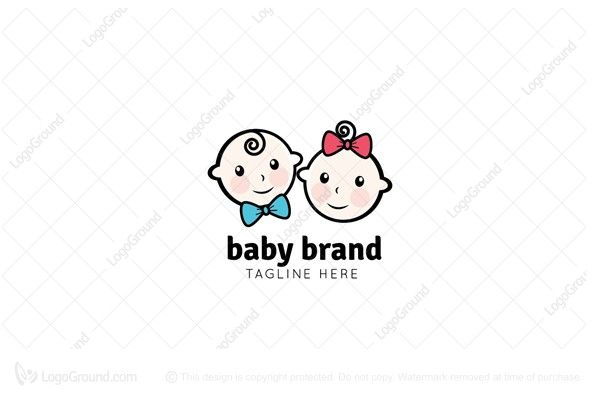 Logo for sale: Baby Boy And Girl Logo