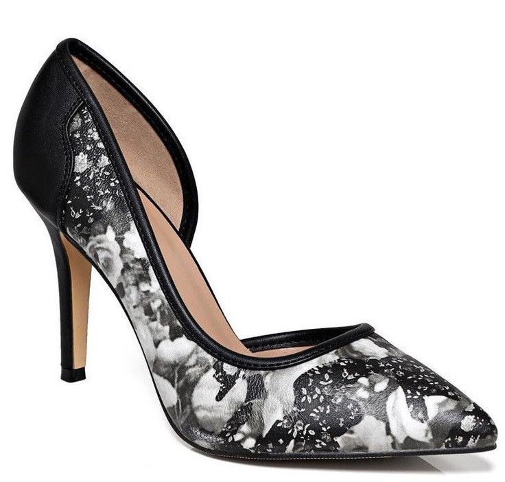 Pointed Heels Womens Shoes Floral Print High Black Grey Sizes UK 3 4 5 6 7 8 NEW #Unbranded #CourtShoes #Party