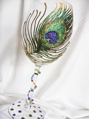 hand-painted peacock feather wine glass