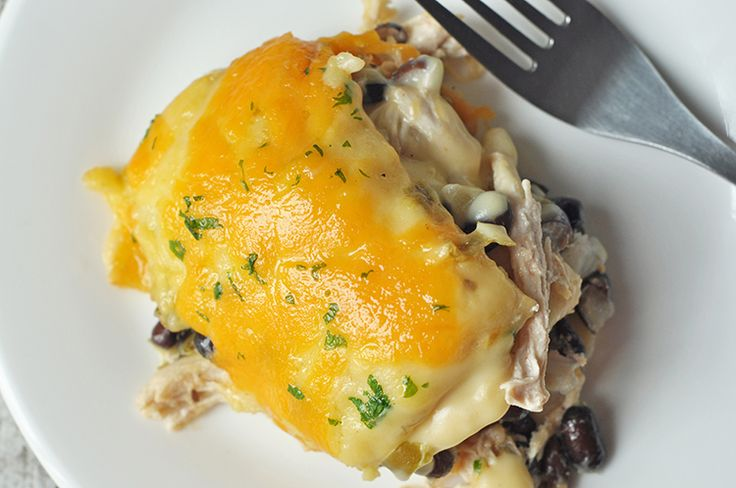Hearty and bursting with gooey, cheesy goodness, this casserole makes the ultimate comfort food.White Chicken & Black Bean Casserole
