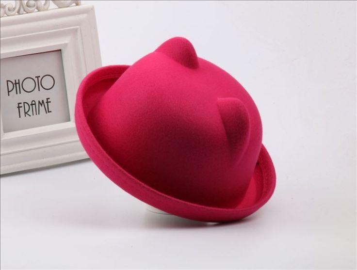 Girls Kids Cute Hat Caps Cat Ears Bowler Wool Blend Derby Devil Horn Children