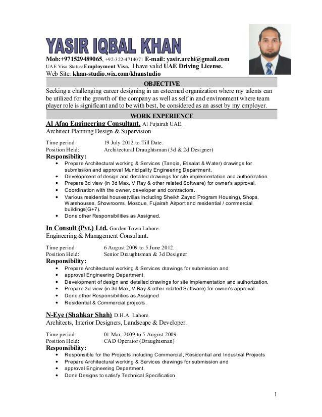 Mob 971529489065 92 322 4714071 E Mail Yasir Archi Gmail Comuae Visa Status Employment Visa I Have Valid Uae Cover Letter For Resume Resume Resume Design
