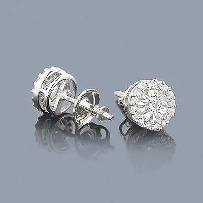 These Affordable Gold Diamond Stud Earrings Showcase 0 40 Carats Of Genuine Diamonds In Illusion Setting Giving Them A 2ct Lo
