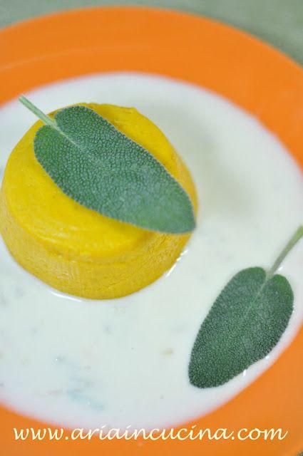 Budino salato di zucca su fonduta di Gran Kinara e Lou Blau