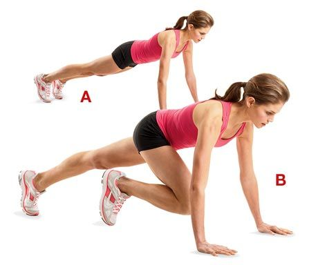 mountain climbers - do slow for a great core workout, pick up the pace to add cardio. Gets your heart rate up and burns fat!!