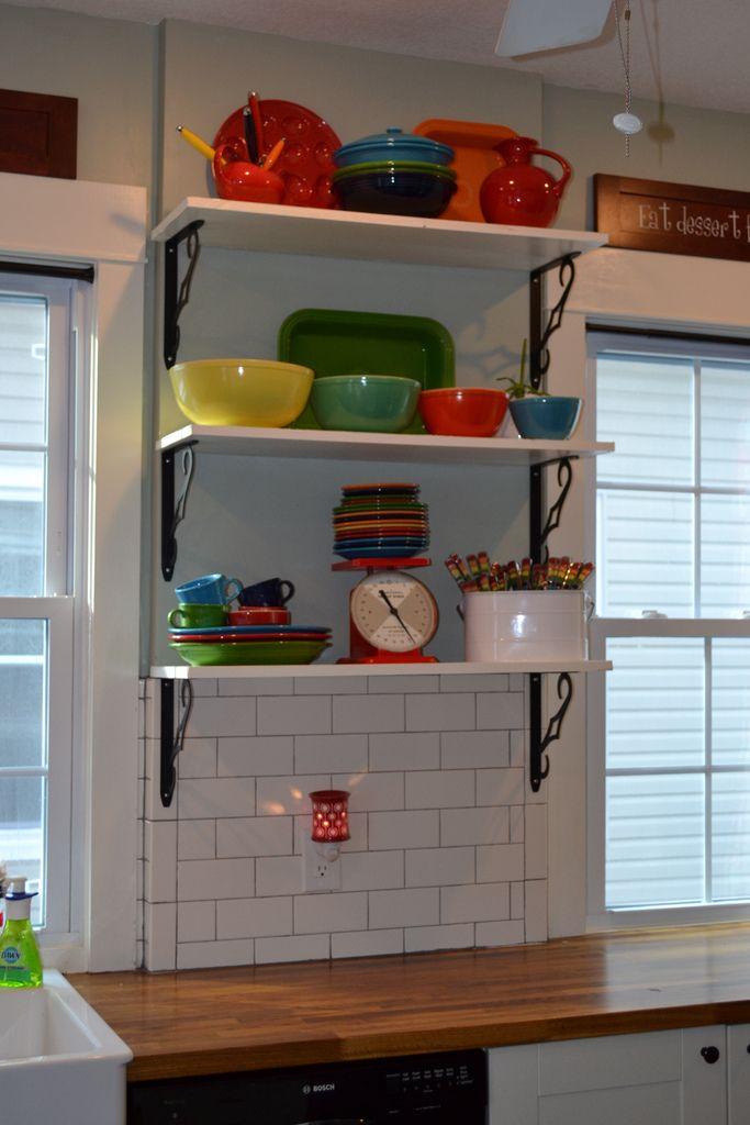 open shelves with Fiestaware