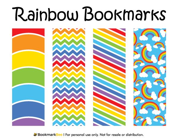100 best Printable Bookmarks at BookmarkBee images on - rainbow template