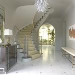 entrances/foyers - jan showers white tufted brass bench chest modern art mirror  White tufted brass entry bench, chandelier, antique, chest,