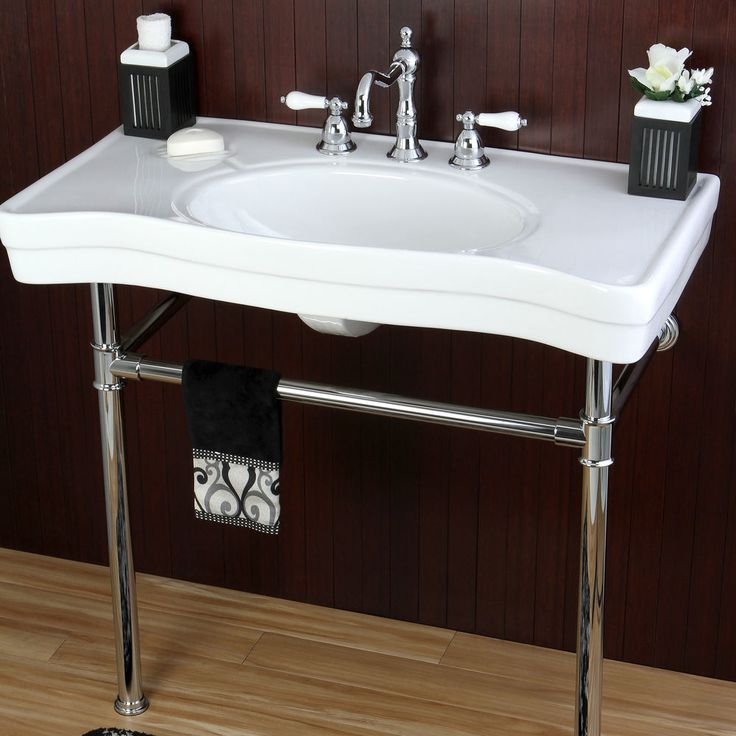 Vintage Style 36-inch Wall-mount Chrome Pedestal Bathroom Sink Vanity Farmhouse #Imperial