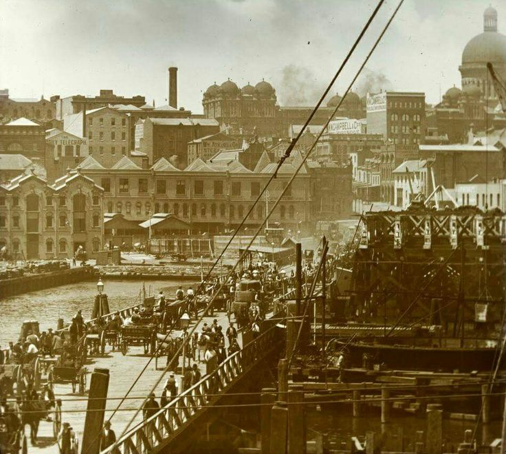 Pyrmont Bridge in Sydney in 1890. *W W Campbell & Co on Miller St,Pyrmont.