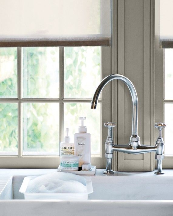 Consider adding slightly angled grooves to the draining-board counter next to the sink: Water from just-washed dishes runs back into the sink.