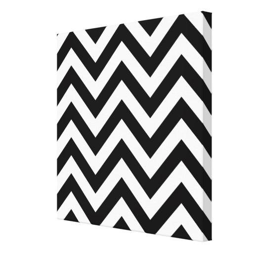 Черный и белый зигзаг Шеврон шаблон натянутым холстом печати