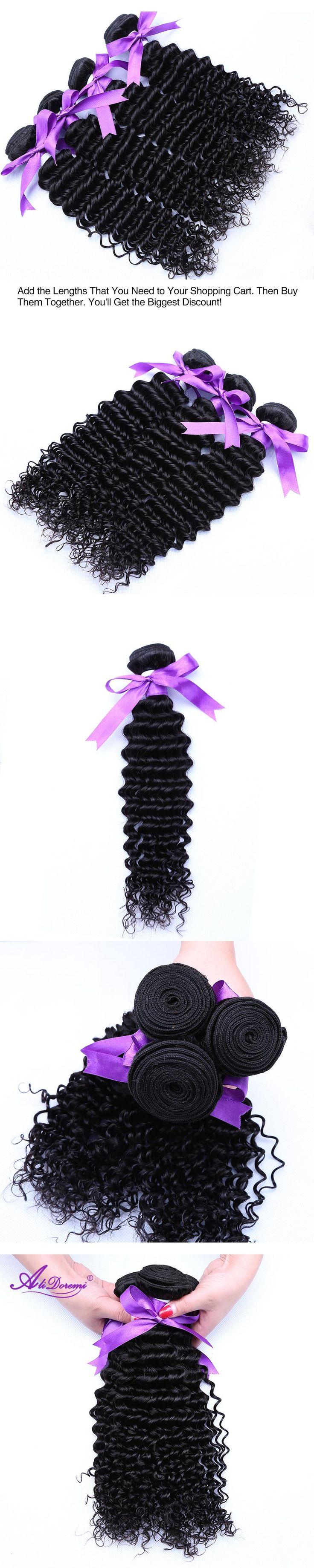Alidoremi Brazilian Deep Wave Hair Weave Bundles 100% Human Hair Weaving Natural Color Non-Remy Hair 1 Piece Free Shipping