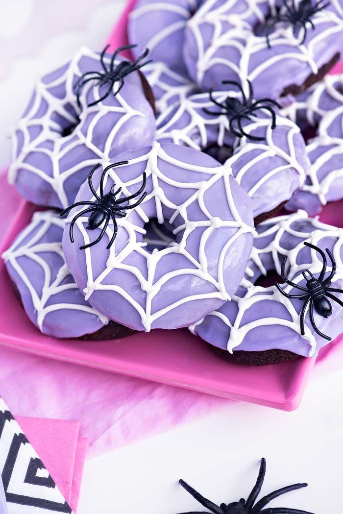 Chocolate Spider Web Doughnuts