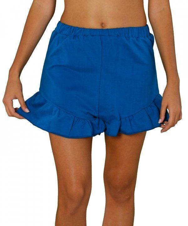 Γυναικείο σόρτς με βολάν πετρόλ Benissimo 52567  γυναικείασορτσάκια  μόδα   ντύσιμο  ρούχα  shorts  fashion  φθηνά aa784a0eca9