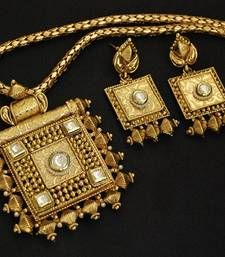 Rajwadi Pendant set with Gold Plated & Copper Base shop online.