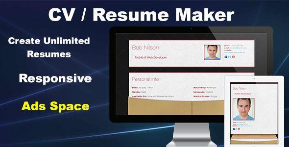 cool CV   Resume Maker (Miscellaneous) Script Reviews Pinterest - resumemaker
