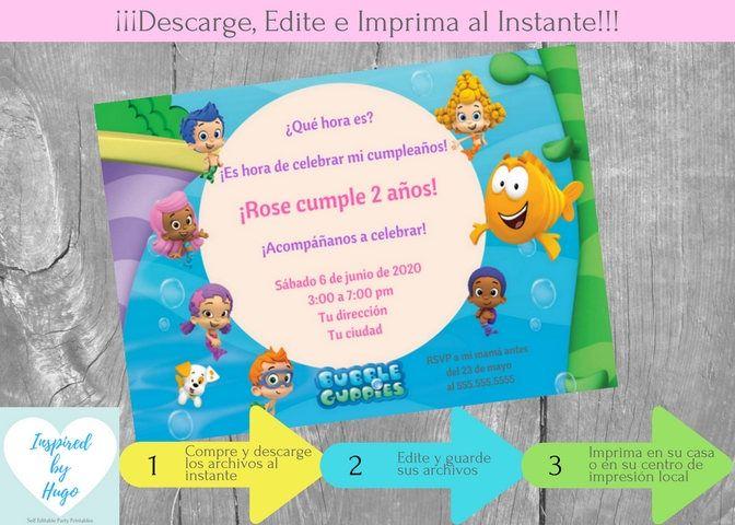 Invitación Bubble Guppies Fiesta Cumpleaños Niña y Tarjeta de Agradecimiento, Descarga Instantánea, Invitación en español para personalizar by InspiredByHugo on Etsy