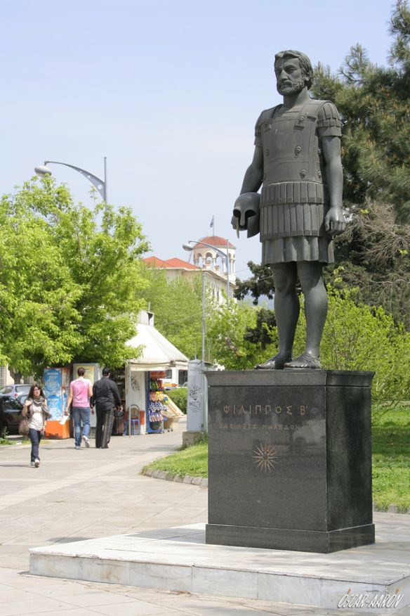 "Contemporary statue of ""Philip II - King Of The Macedonians"" in Thessaloniki."