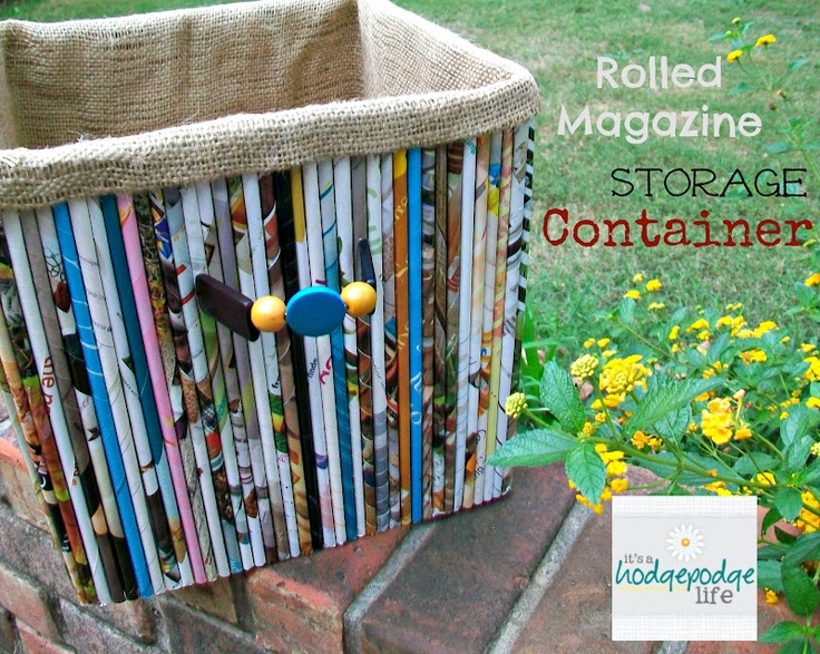 It's a Hodgepodge Life: Rainy Day Project~Rolled Magazine Container/Basket    Then I turned to the pile of magazines...  truly one of the most annoying stacks around my home.  So, get out the pile and start rolling magazine tube straws!  There are lots of how-to's on the internet; just google it