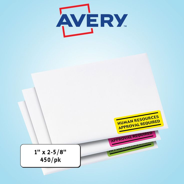 """Avery High Visibility Laser Labels 1 x 2-5/8"""" Assorted Neon 450ct"""
