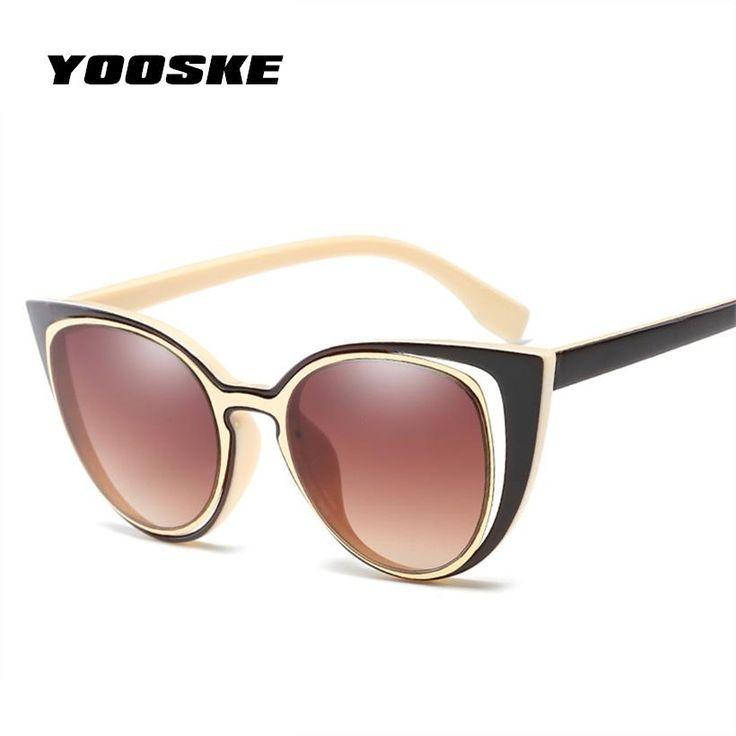 YOOSKE Ladies Elegant Cat Eye Sunglasses Female Pierced Lens Retro Brand Designer Women UV400 Goggles