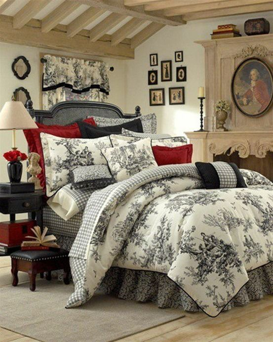 A wonderful French Country bedroom with a toile-print beddng set