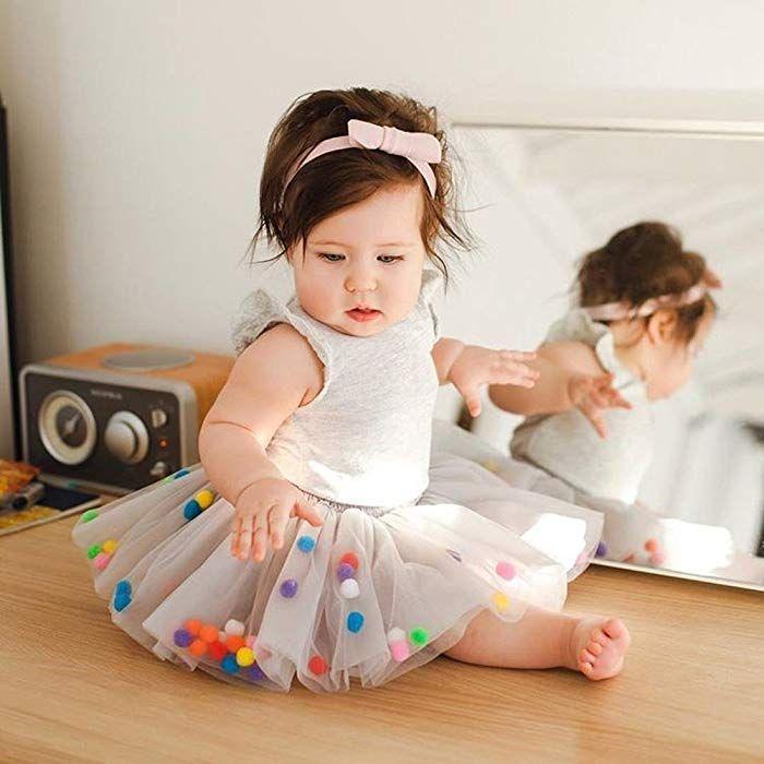 Mulfei Baby Toddlers Girls Pettiskirt Dress 4 Super Soft Layers Rainbow Pom Pom Puff Balls Tutu Skirt