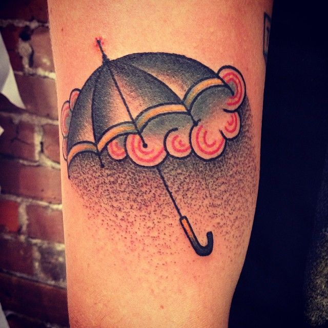 Umbrella, rain, and cloud tattoo on the arm or leg | Unknown Artist at Gastown Tattoo Parlour in Vancouver, BC
