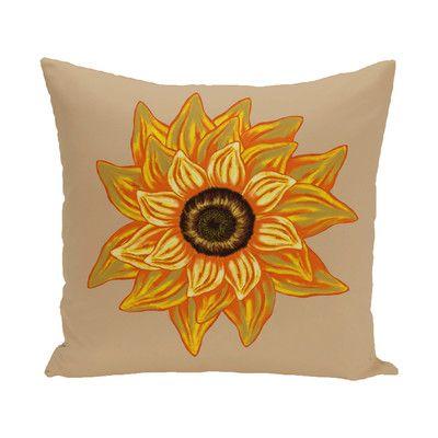 "August Grove Milieu El Girasol Feliz Flower Print Throw Pillow Size: 18"" H x 18"" W, Color: Beige/Taupe"