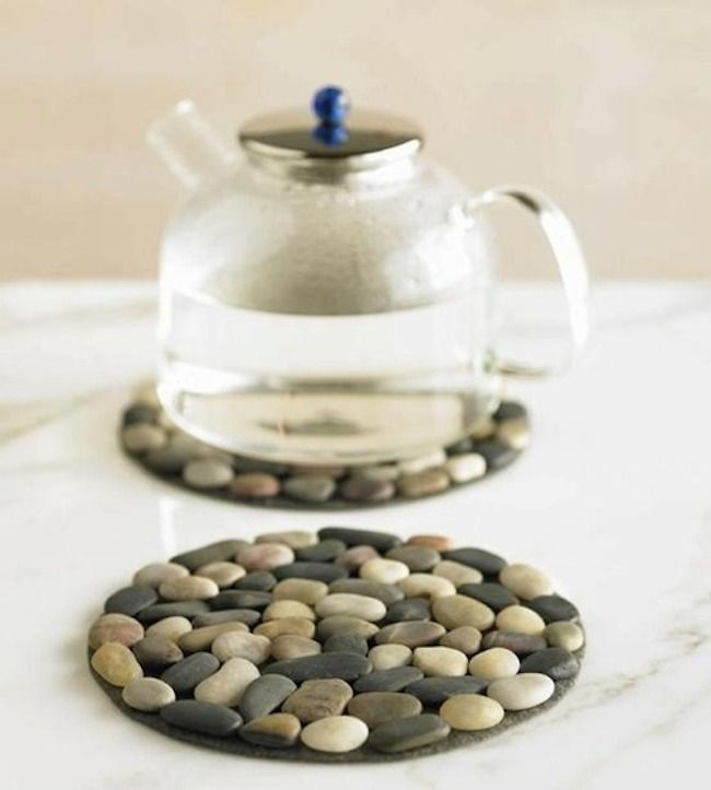 Stones glued to a CD to use as a place mat