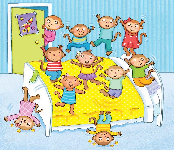 monkeys, jumping, fun, bedroom, children's illustration, Kate Daubney illustration