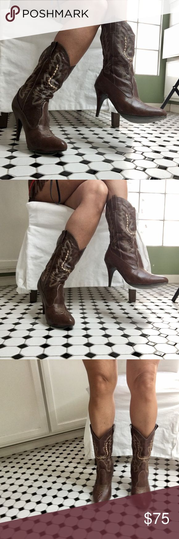 "Brown embroidered women's 3"" heel cowboy boots Never worn, look great with boho dressing or the cowgirl costume in my shop. Sz 9, 3"" heel, faux leather. Shoes Heeled Boots"