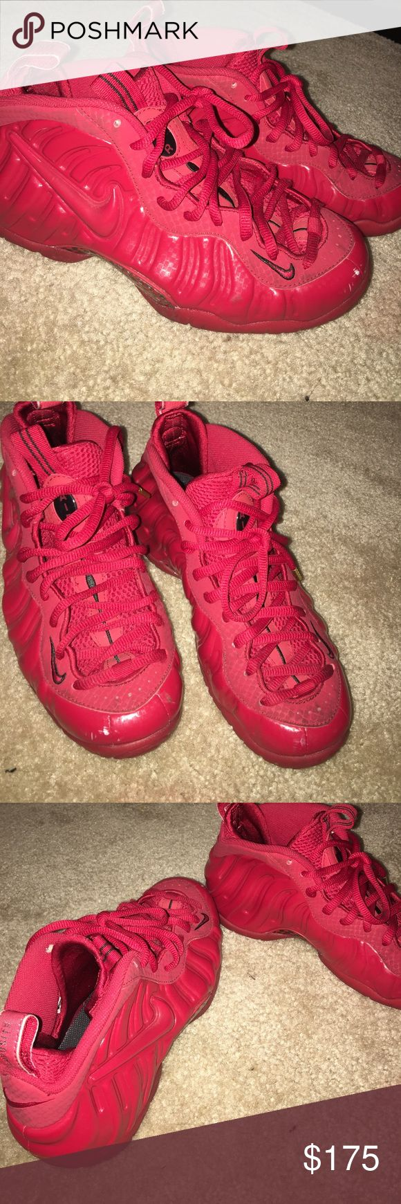 All Red Foamposites 7/10 little scratch in front. Worn 5 times at most. Nike Shoes Sneakers