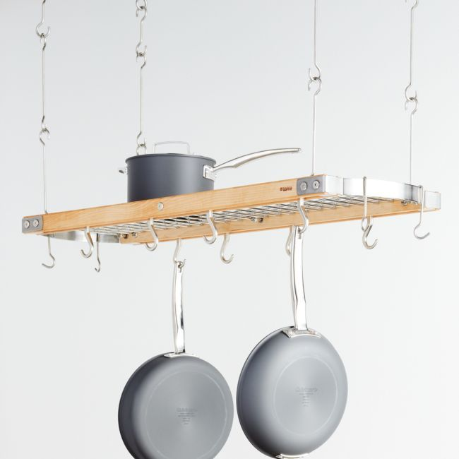 J K Adams 39 Maple Oval Hanging Pot Rack Crate And Barrel Pot Rack Hanging Pot Rack Pot Rack Kitchen