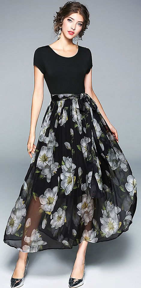 Chic O-Neck Short Sleeve Stitching Floral Print Dress