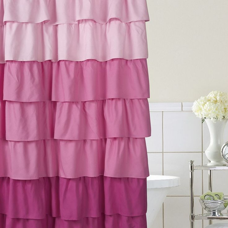 Home Classics® Ruffle Ombre Fabric Shower Curtain, Pink