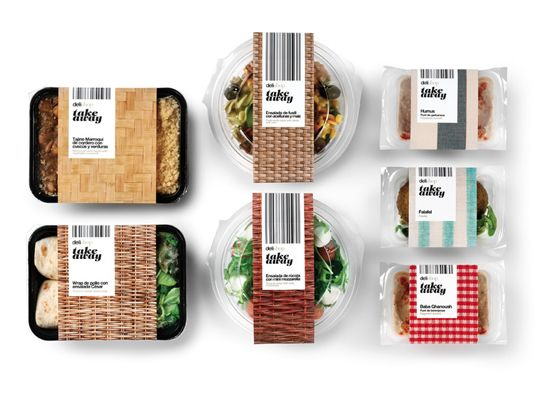 """Delishop Take Away packaging designed by Enric Aguilera. """"The new line of prepared dishes 'Take Away' for Delishop based on the concept 'urban picnic' is presented as a fun option to consume the products from different points of Barcelona."""""""
