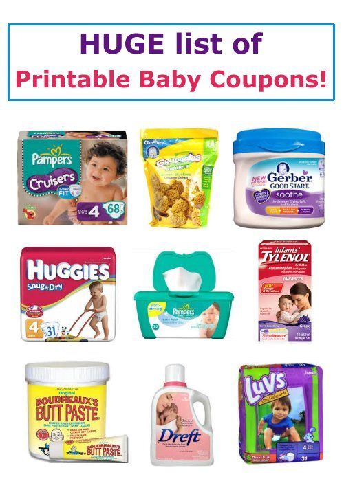 Huge List of Printable Baby Coupons - diaper coupons, formula coupons, more!  #pampers #baby #coupons