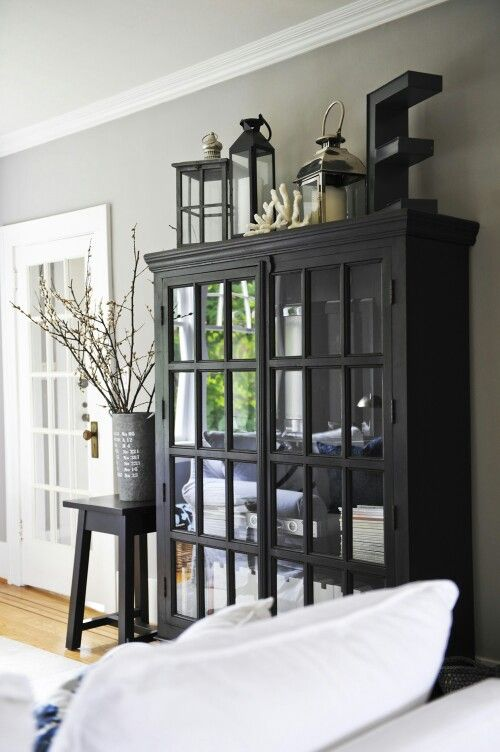 I love this black hutch, keeps everything organized and off the table